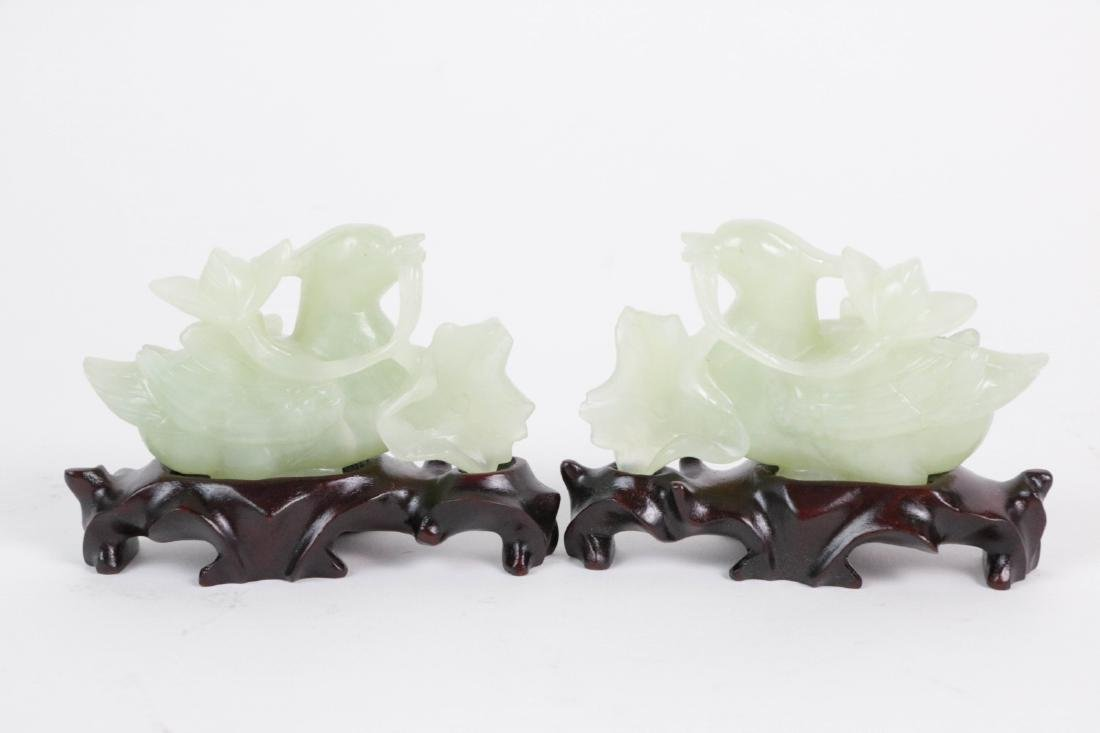 Pair of Chinese Carved Goose Jade Pieces