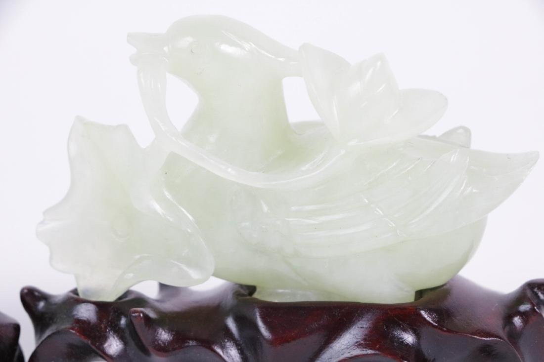 Pair of Chinese Carved Goose Jade Pieces - 3