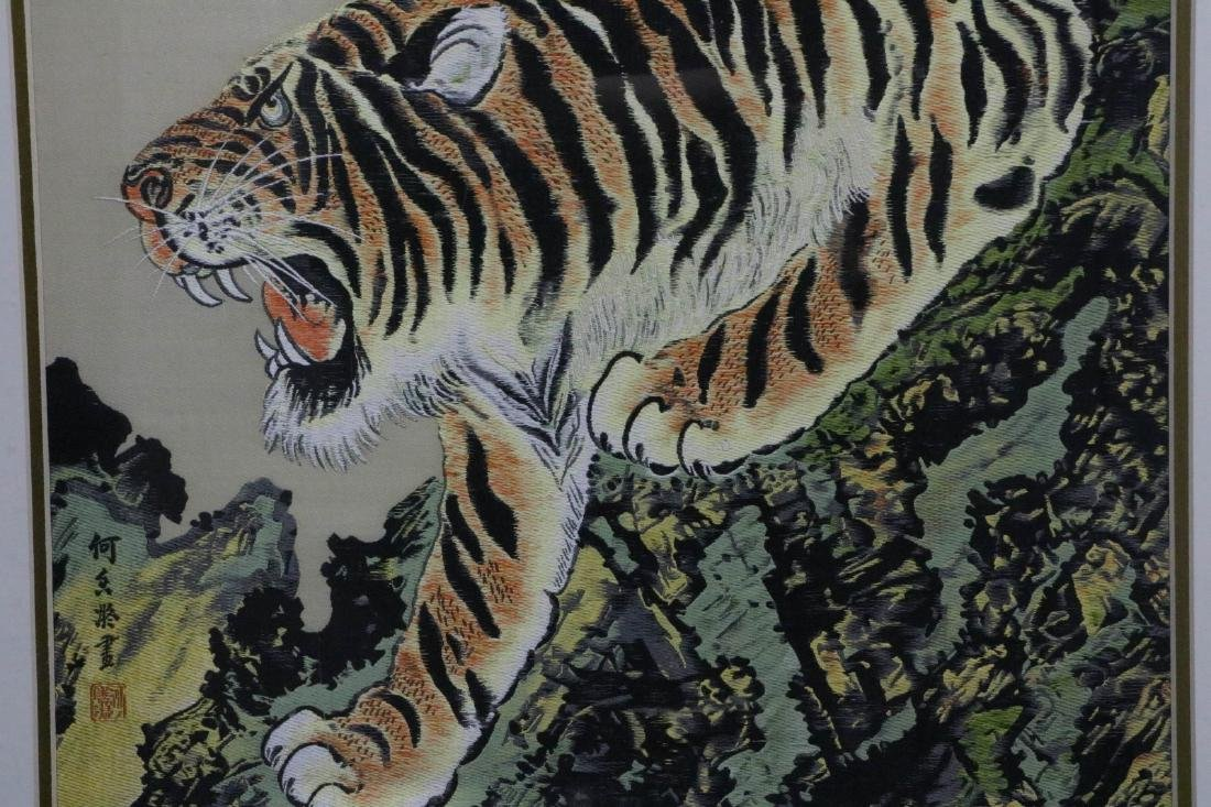Chinese needle point point textile of a tiger - 3