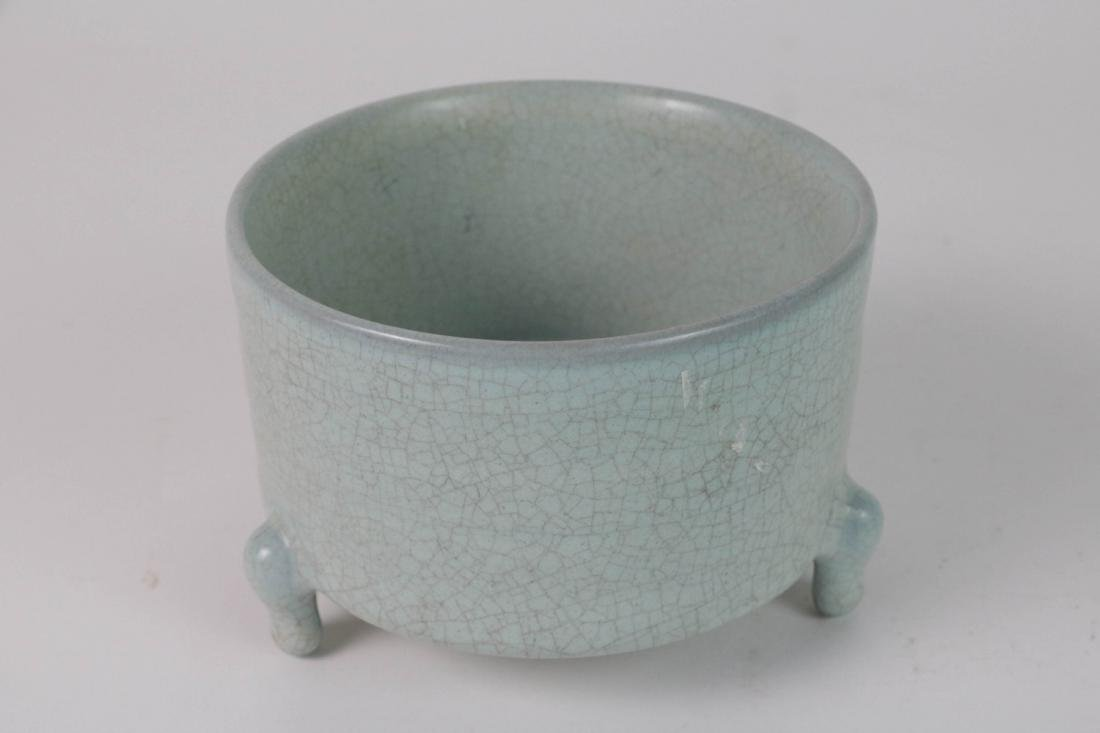 Chinese Porcelain Tripod Censer w/ Calligraphy