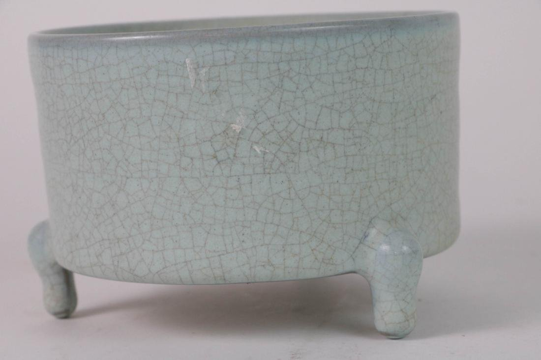 Chinese Porcelain Tripod Censer w/ Calligraphy - 2