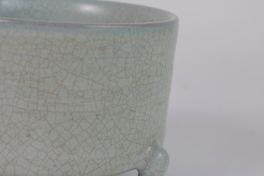 Chinese Porcelain Tripod Censer w/ Calligraphy - 5
