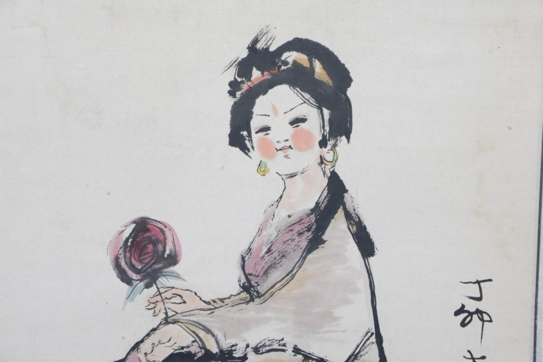 Chinese Painting of Lady and Rooster - 3