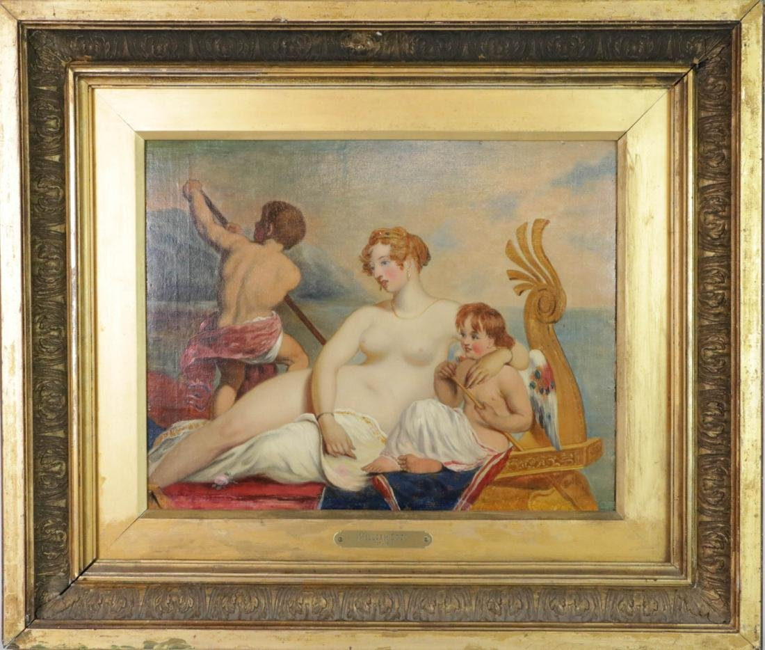 Oil on Board Painting of nude lady and two kids