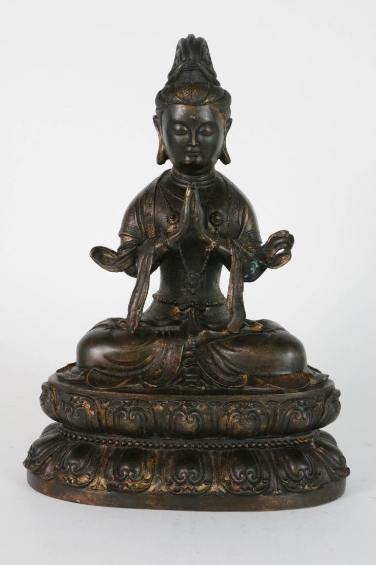 Chinese Bronzed Seated GuanYin