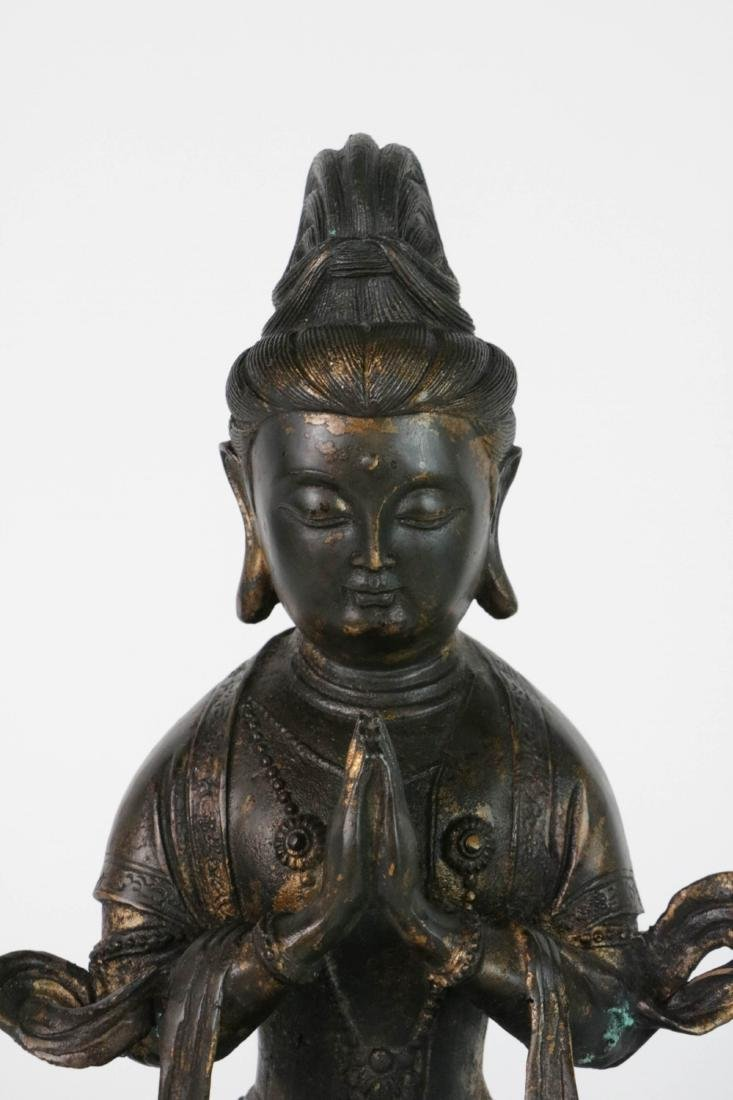 Chinese Bronzed Seated GuanYin - 2