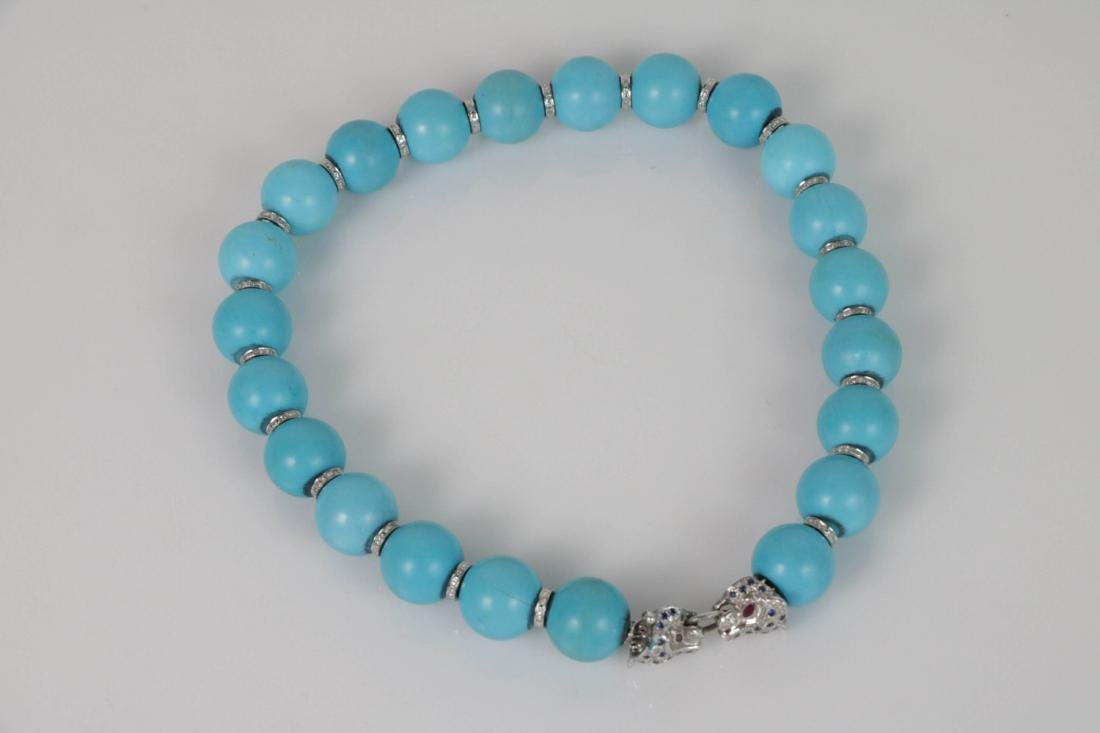 Turquoise Beads Necklace with White Gold Deco