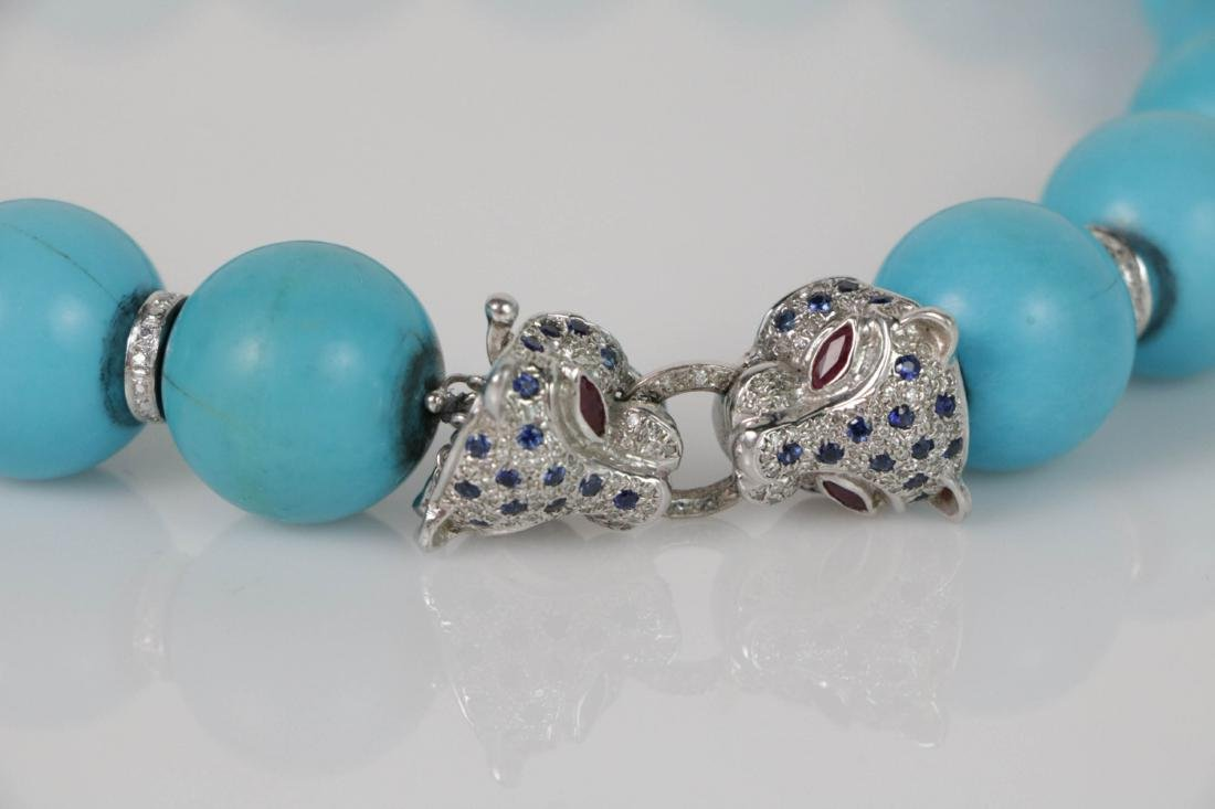 Turquoise Beads Necklace with White Gold Deco - 2