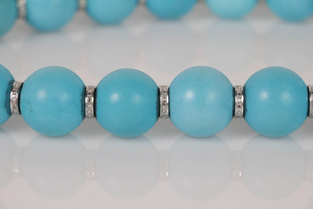 Turquoise Beads Necklace with White Gold Deco - 3