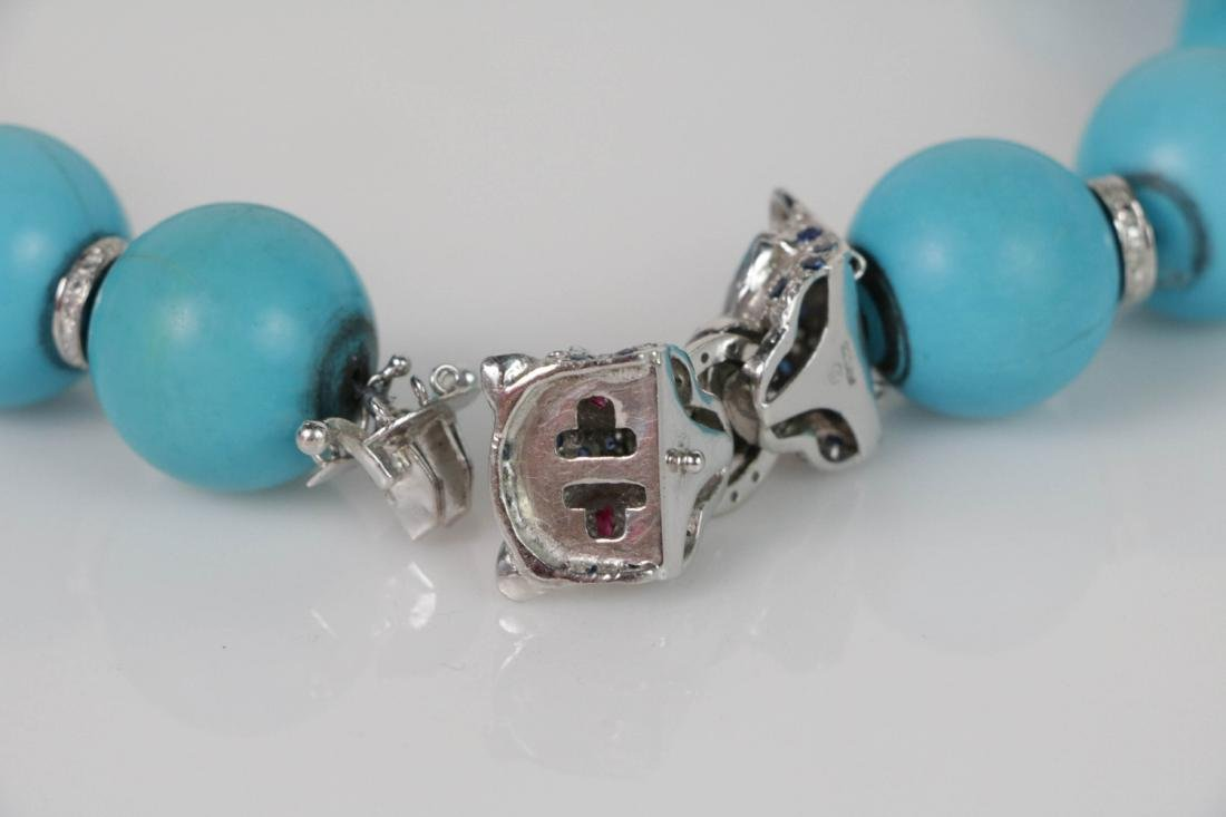 Turquoise Beads Necklace with White Gold Deco - 5