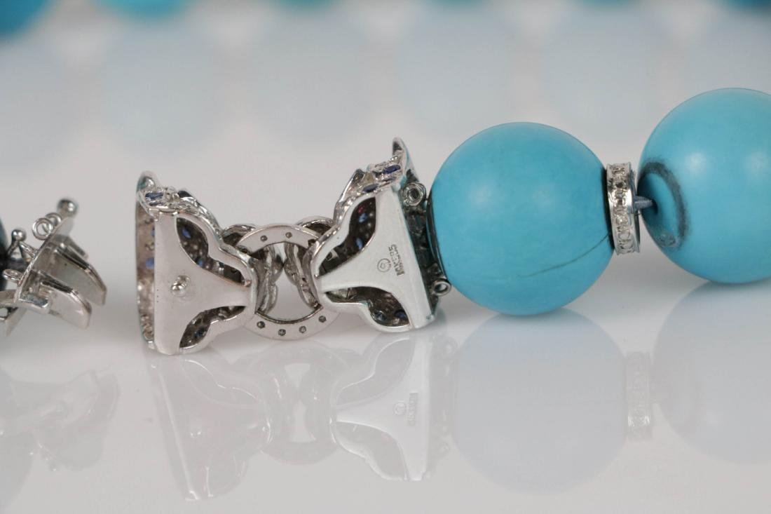 Turquoise Beads Necklace with White Gold Deco - 6