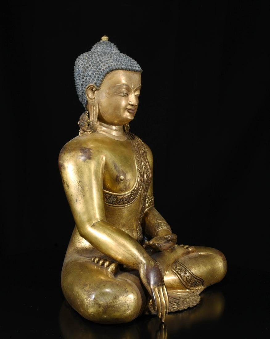 Chinese Bronze Gilt Buddha - 2