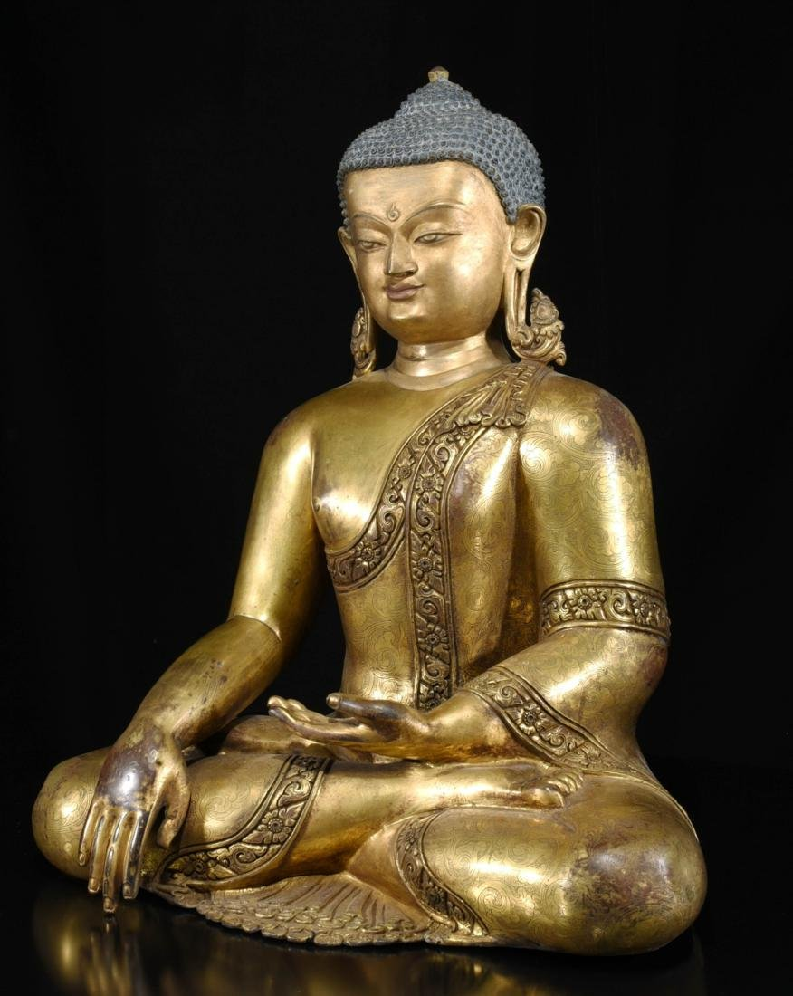 Chinese Bronze Gilt Buddha - 3