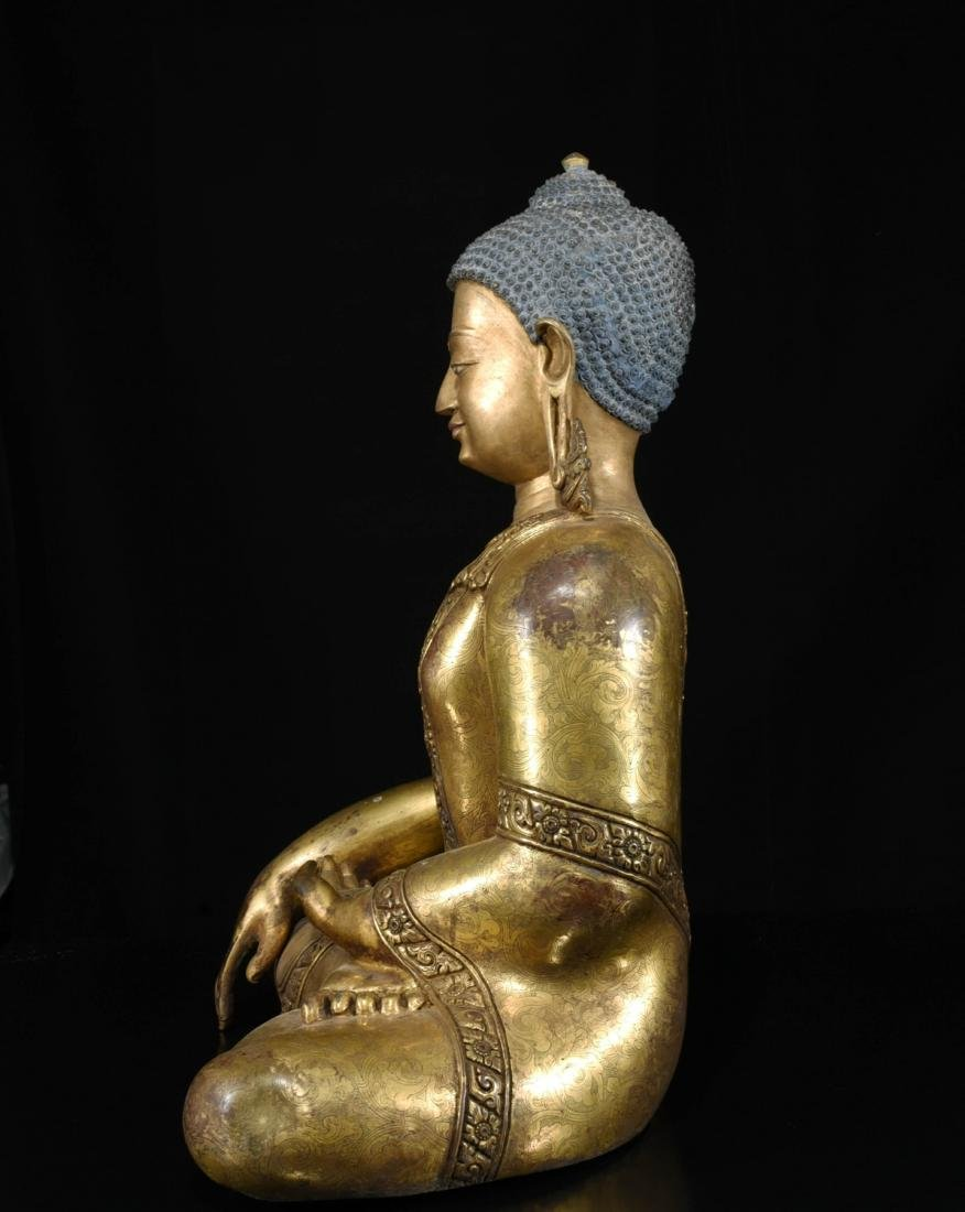 Chinese Bronze Gilt Buddha - 4