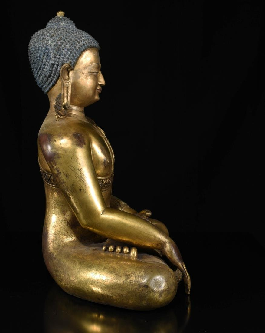 Chinese Bronze Gilt Buddha - 5