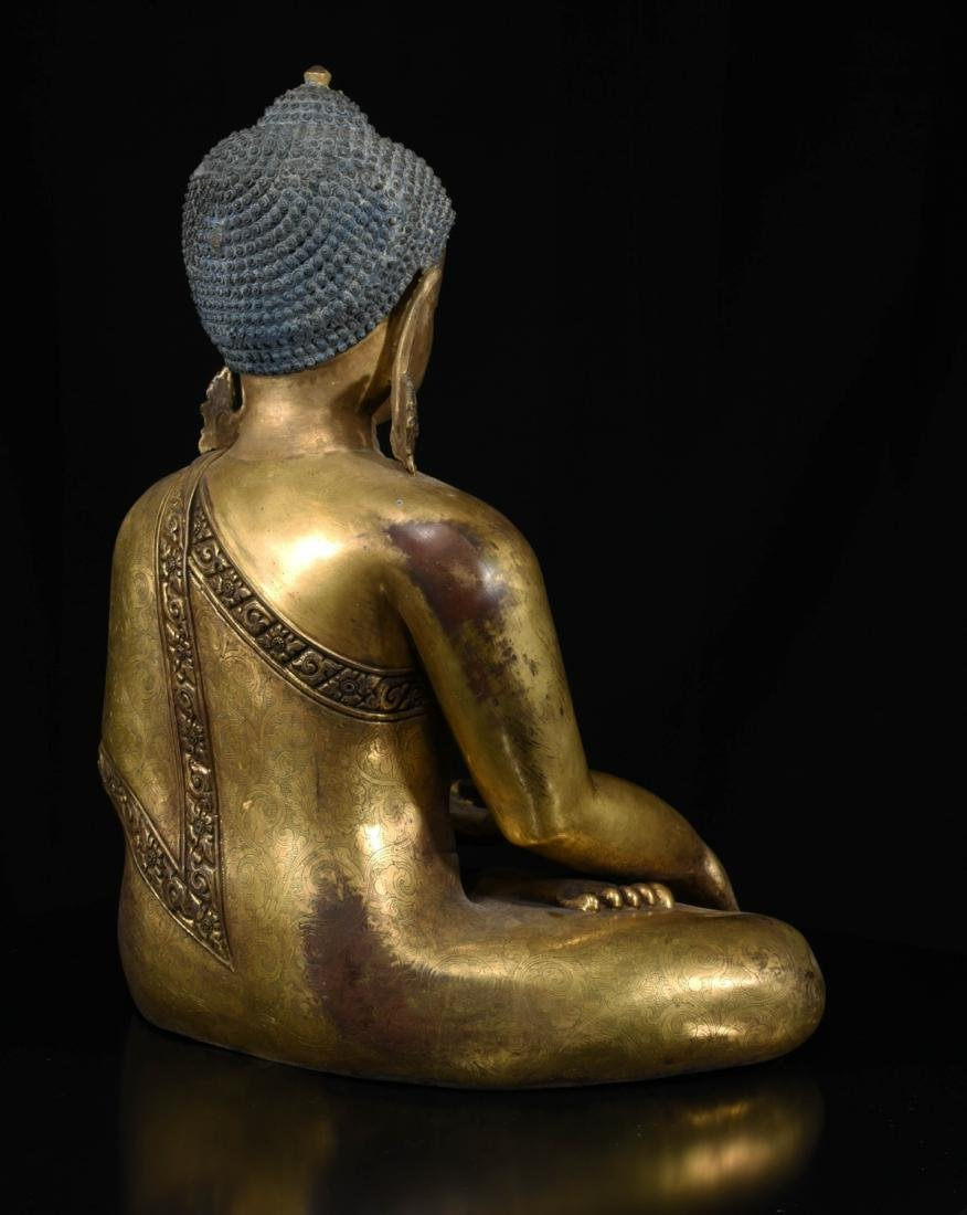 Chinese Bronze Gilt Buddha - 6