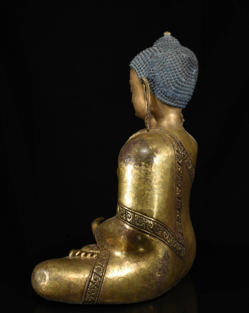 Chinese Bronze Gilt Buddha - 7