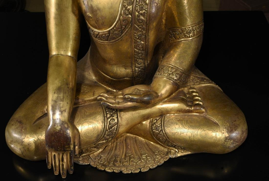 Chinese Bronze Gilt Buddha - 9