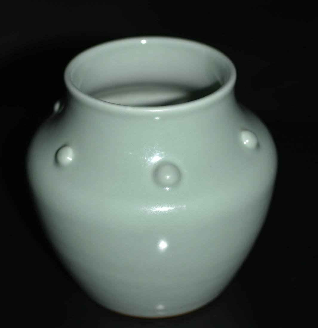 Chinese Bean Color Porcelain Jar - 2