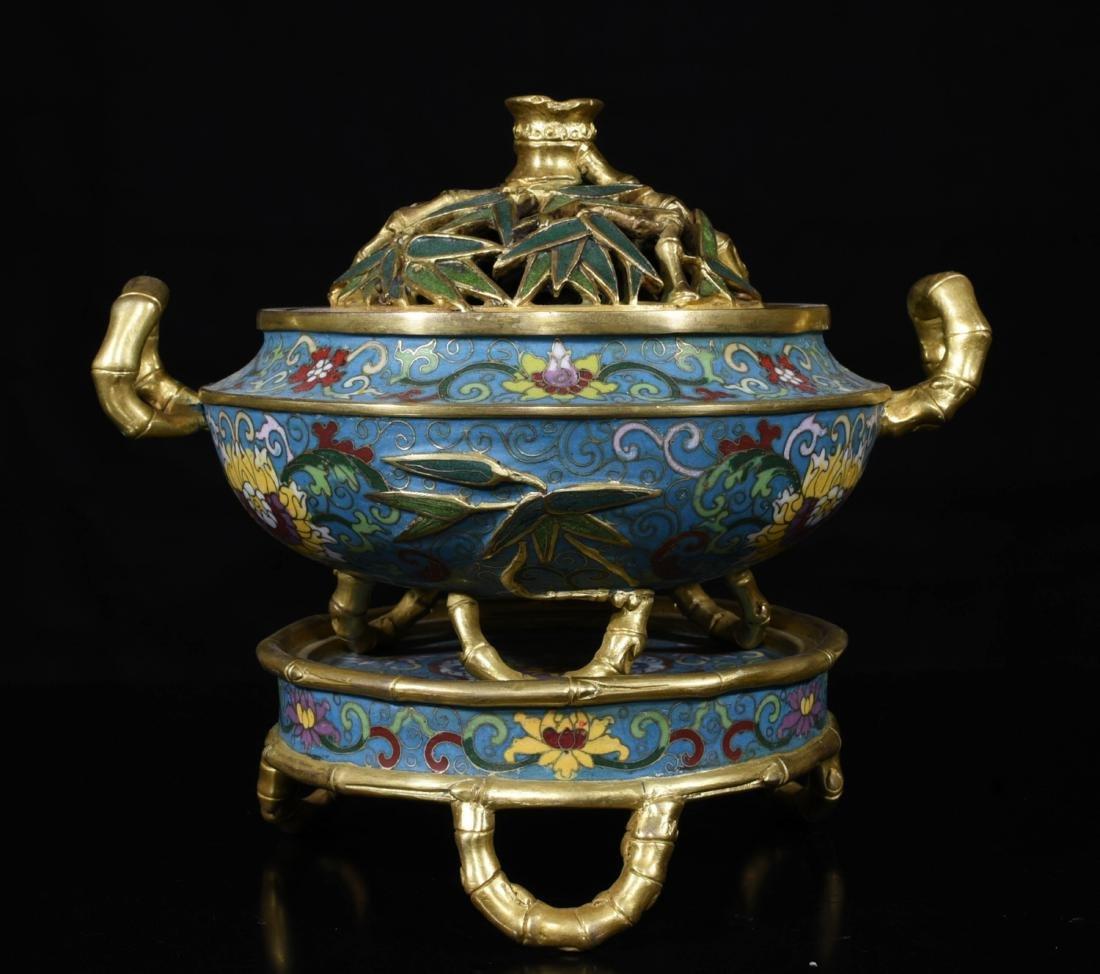 Chinese Gilt Bronze Enamel Burner - 2