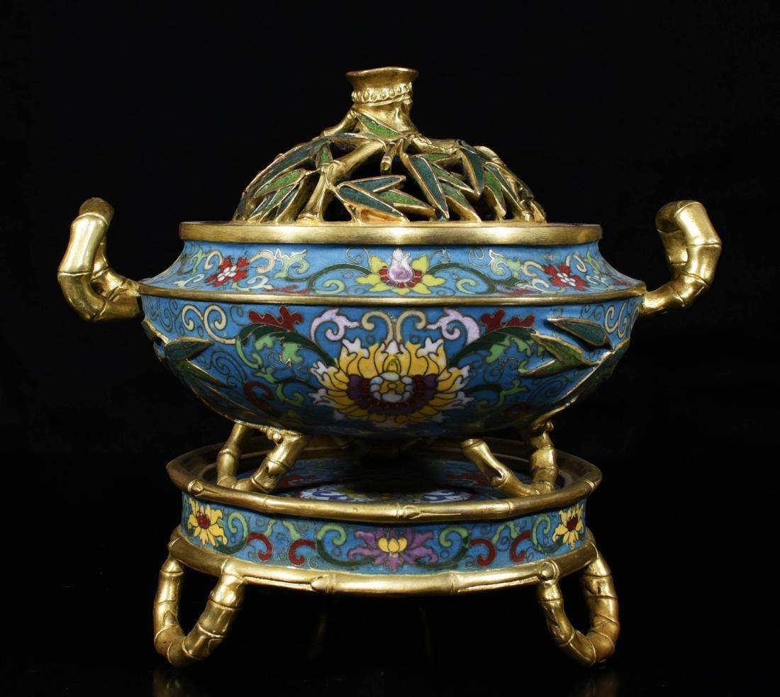 Chinese Gilt Bronze Enamel Burner - 5