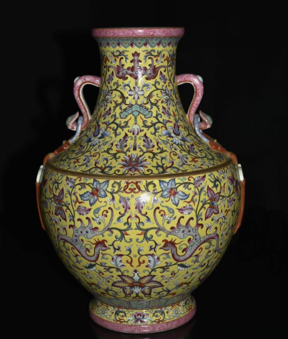 Chinese Yellow Underglaze Famille Rose Vase