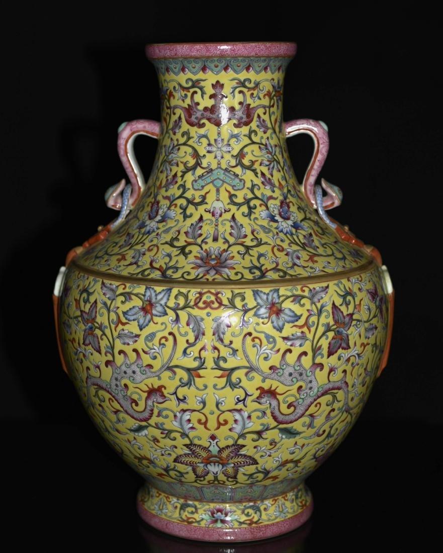 Chinese Yellow Underglaze Famille Rose Vase - 4
