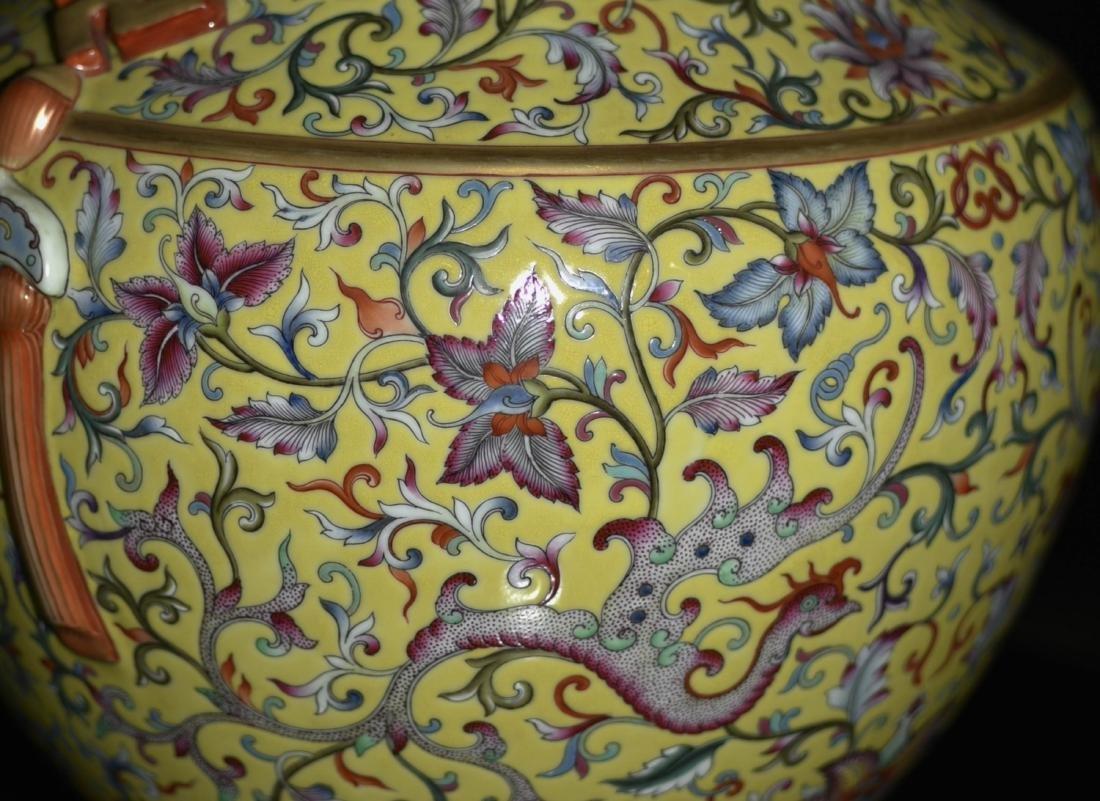 Chinese Yellow Underglaze Famille Rose Vase - 5