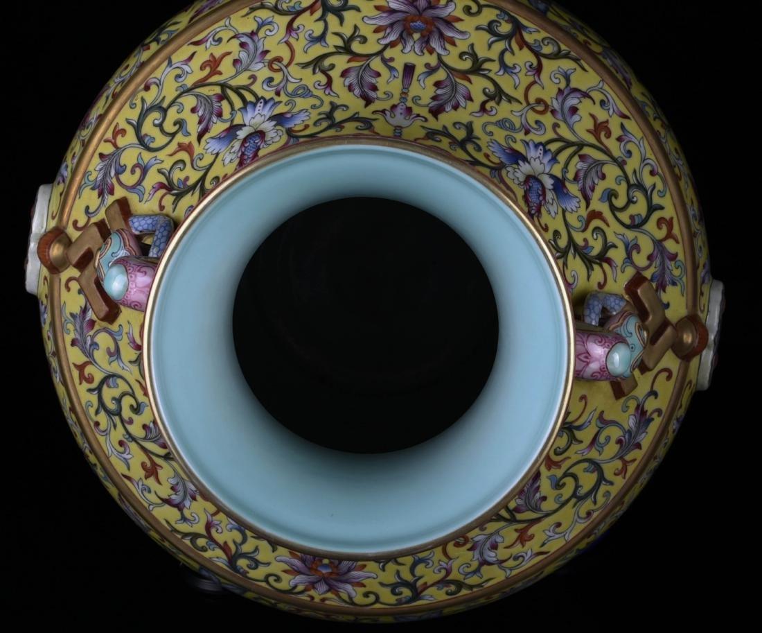 Chinese Yellow Underglaze Famille Rose Vase - 9