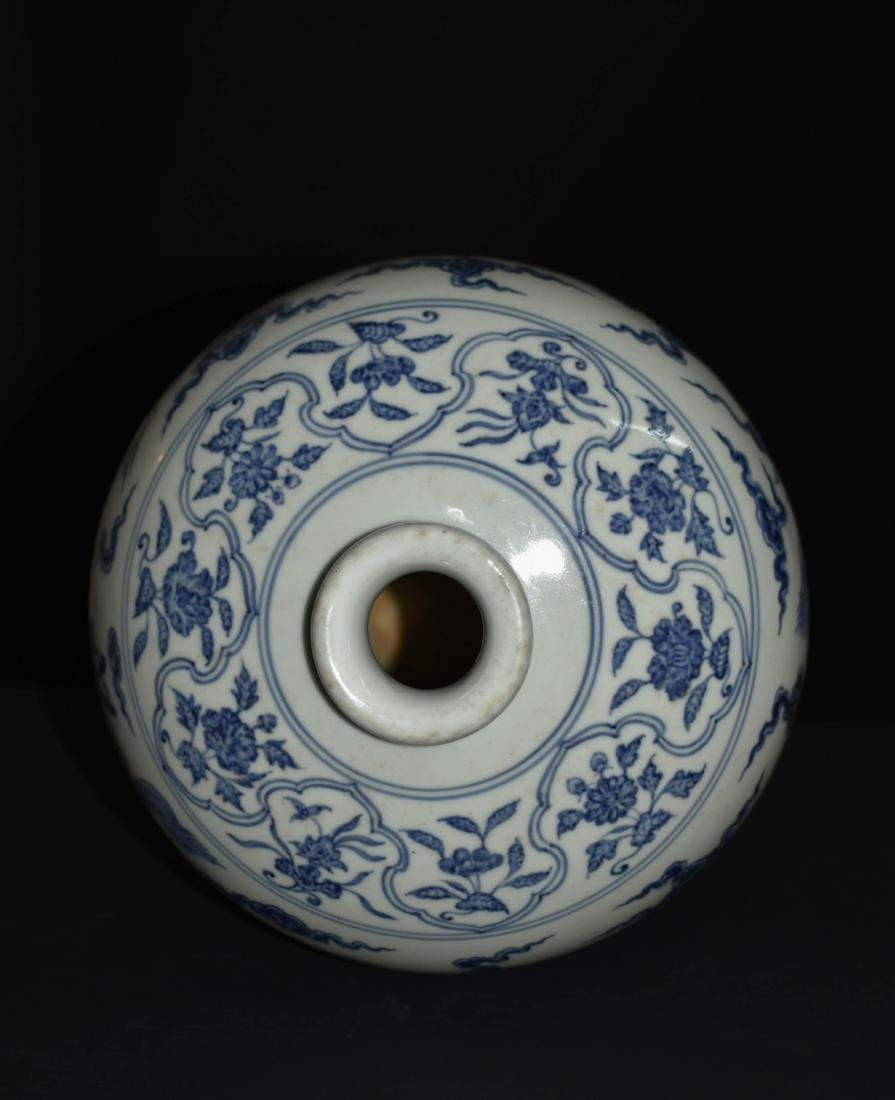 Chinese Blue And White Porcelain Floral Vase - 4