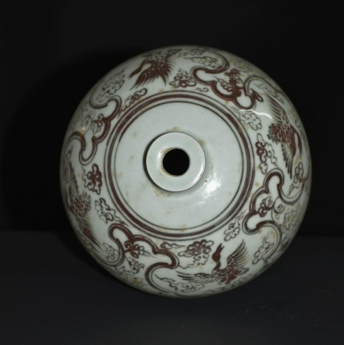 Chinese Copper Red Glaze Floral Vase - 4
