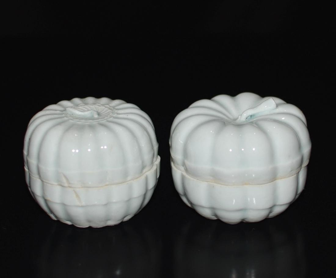 Pair Of Chinese Ying Qing Porcelain Box
