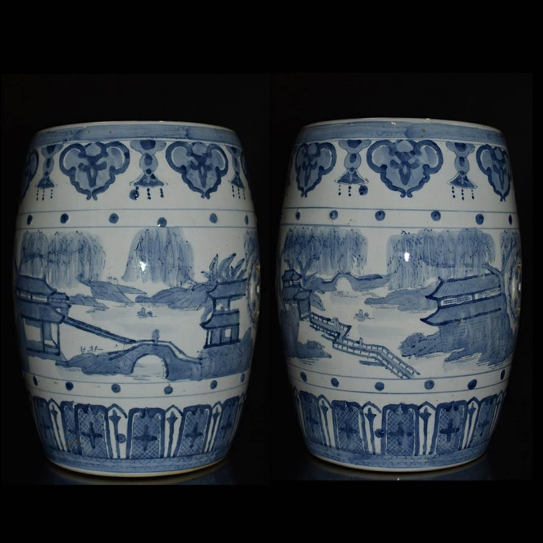 Pair Of Blue And White Porcelain Stool