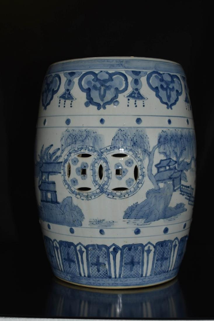 Pair Of Blue And White Porcelain Stool - 4