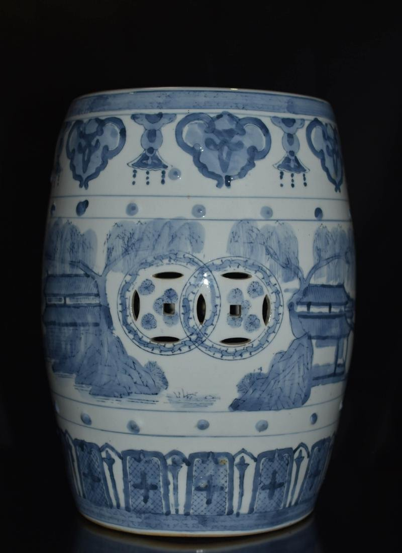 Pair Of Blue And White Porcelain Stool - 5