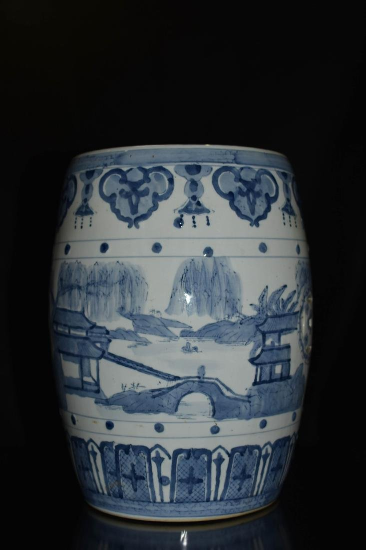 Pair Of Blue And White Porcelain Stool - 6