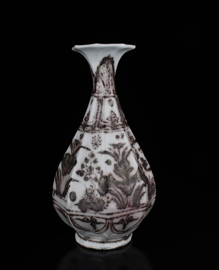 Chinese Copper Red Glaze Porcelain Vase - 2