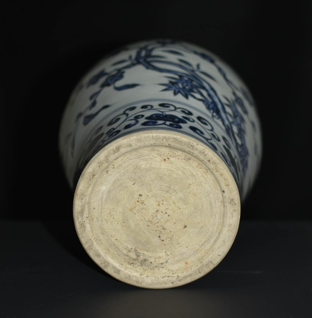 Chinese Blue And White Floral Vase - 4