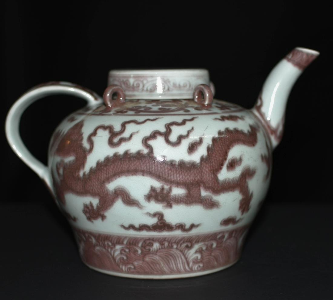 Chinese Copper Red Glaze Porcelain Pot - 3