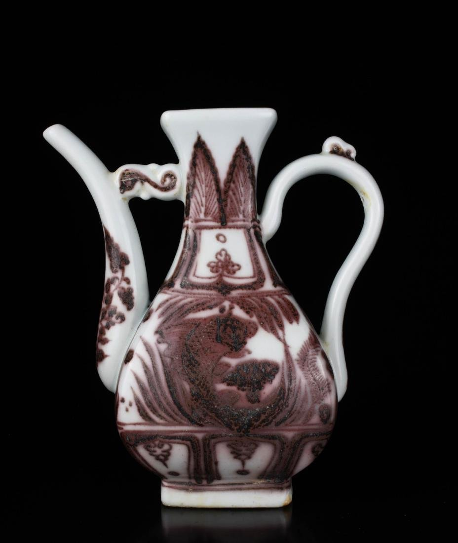 Chinese Copper Red Glaze Porcelain Ewer - 2