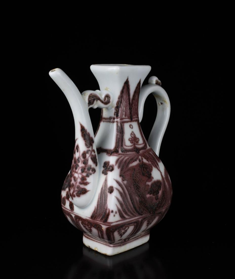 Chinese Copper Red Glaze Porcelain Ewer - 3