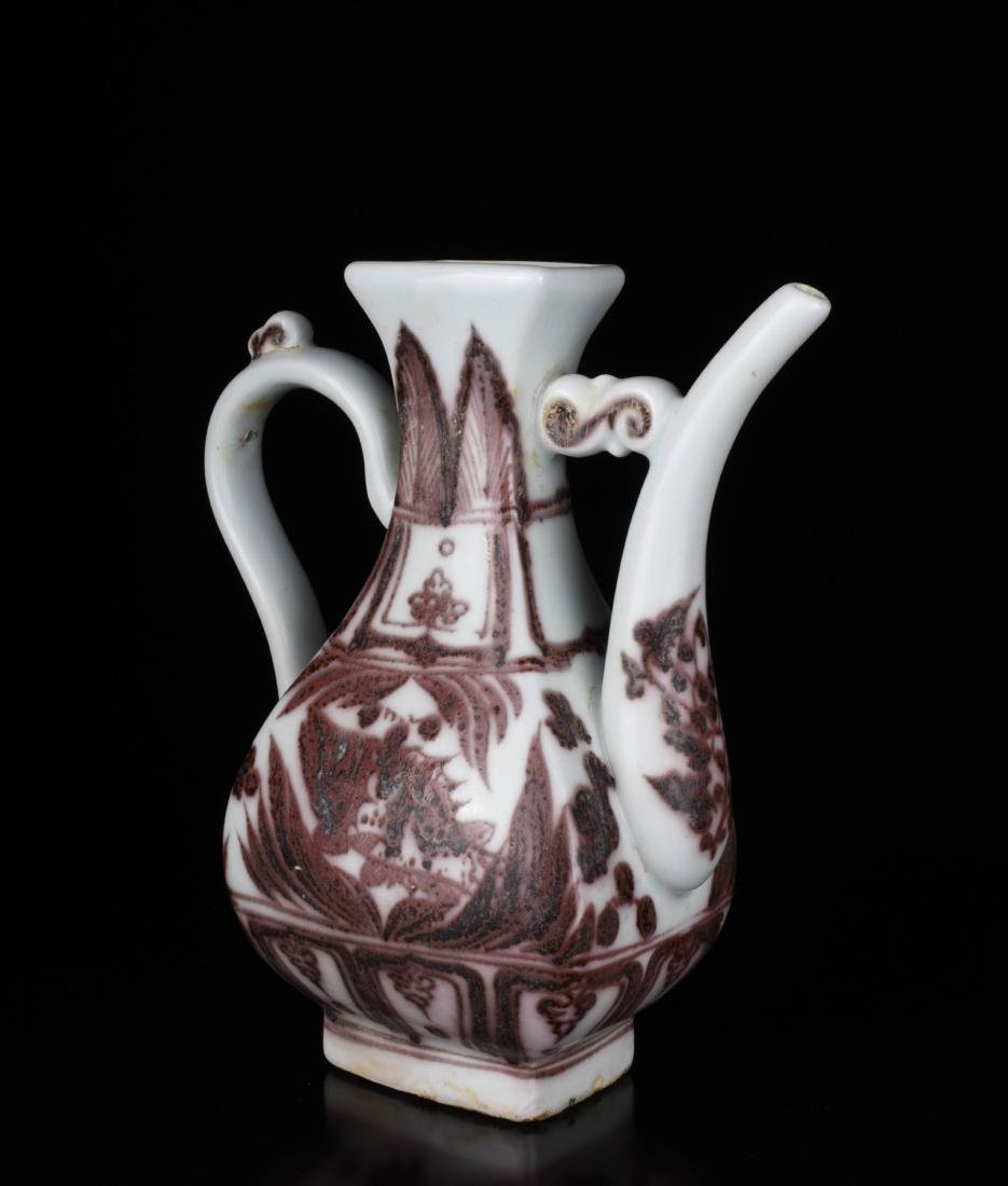 Chinese Copper Red Glaze Porcelain Ewer - 5