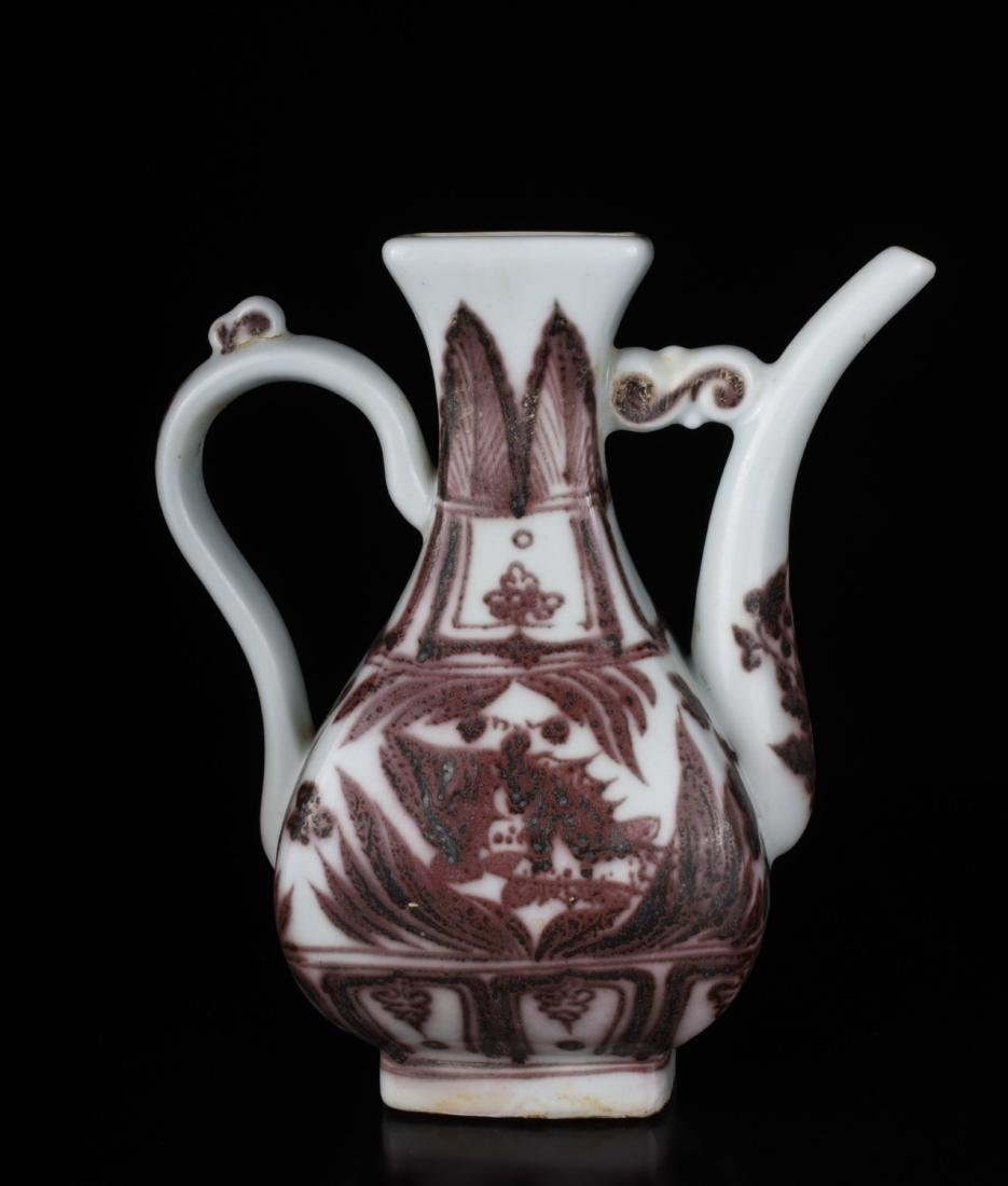 Chinese Copper Red Glaze Porcelain Ewer - 6