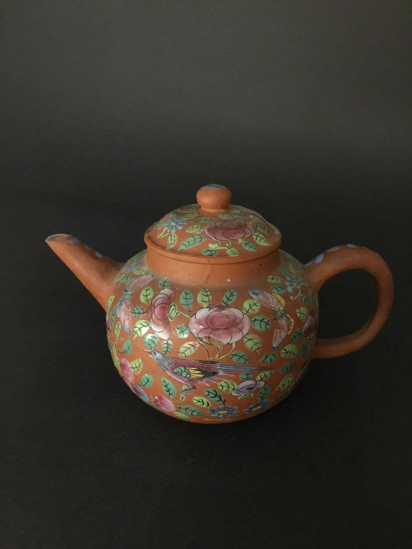 Late Qing Red Mud Color Glaze Zi Sha Teapot