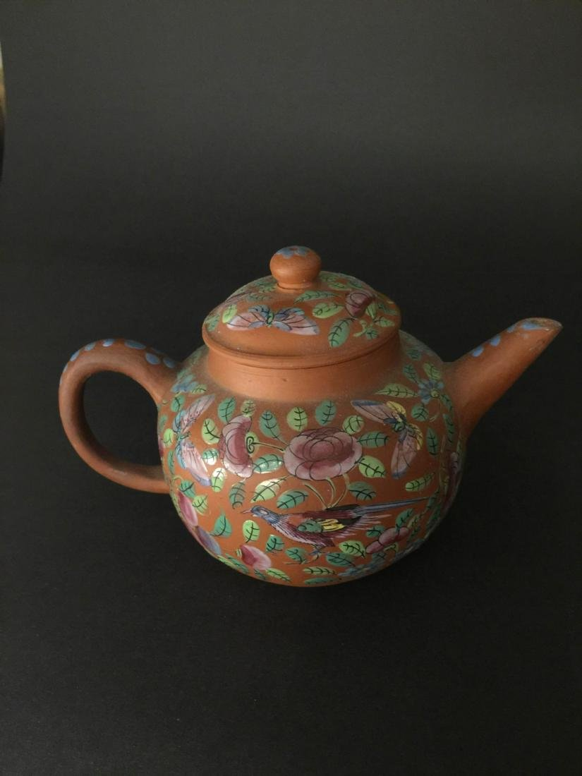 Late Qing Red Mud Color Glaze Zi Sha Teapot - 2