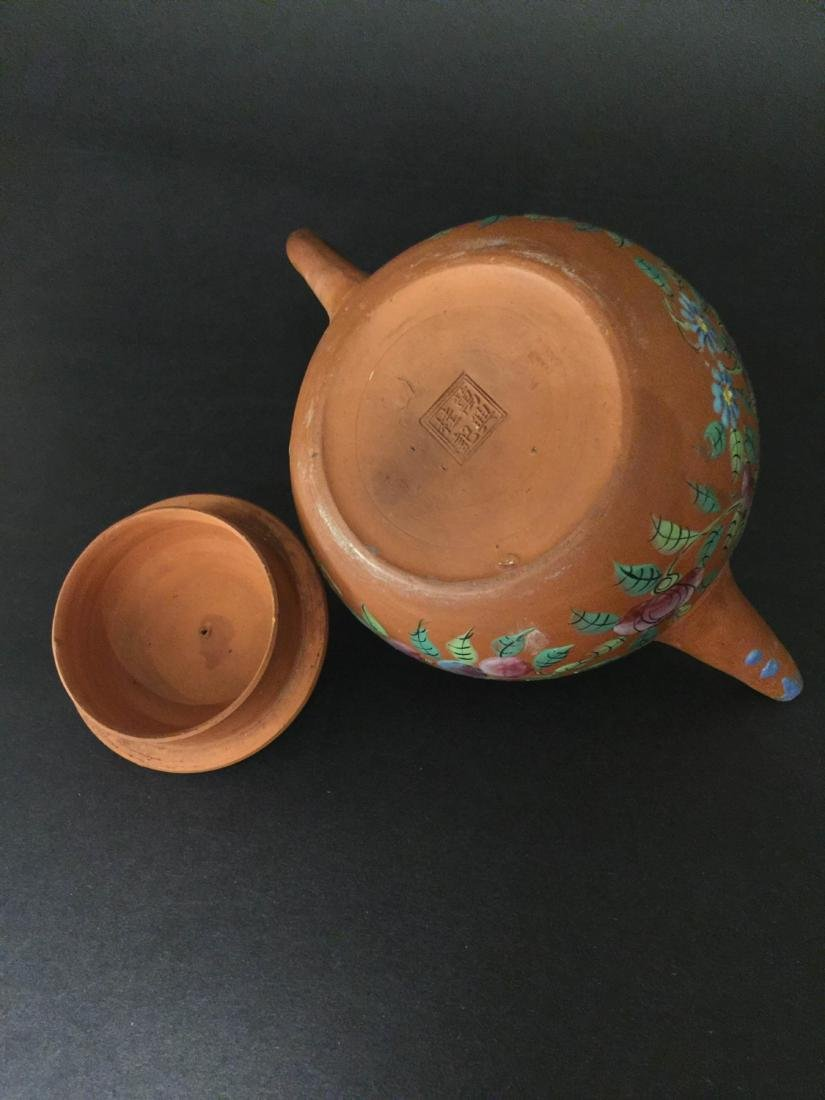 Late Qing Red Mud Color Glaze Zi Sha Teapot - 3