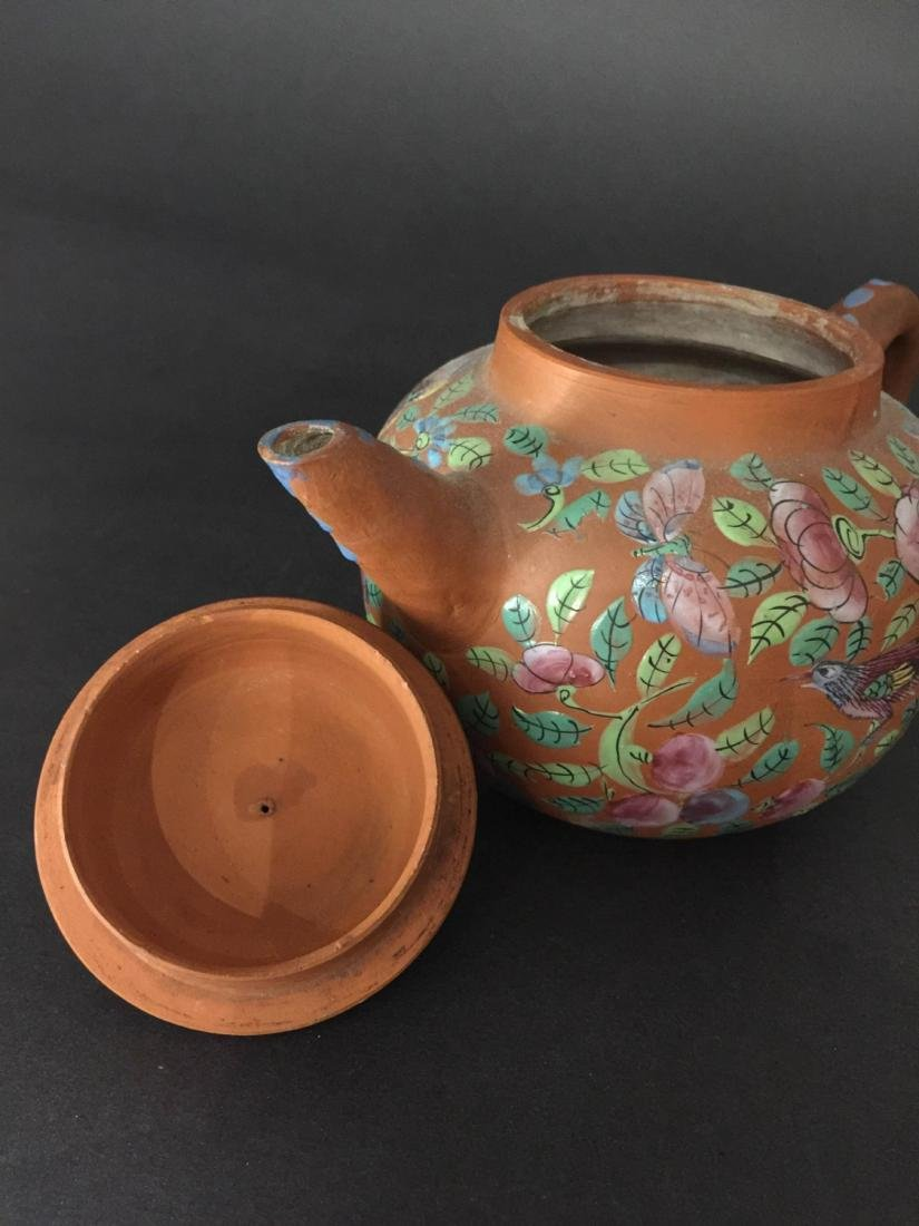 Late Qing Red Mud Color Glaze Zi Sha Teapot - 4