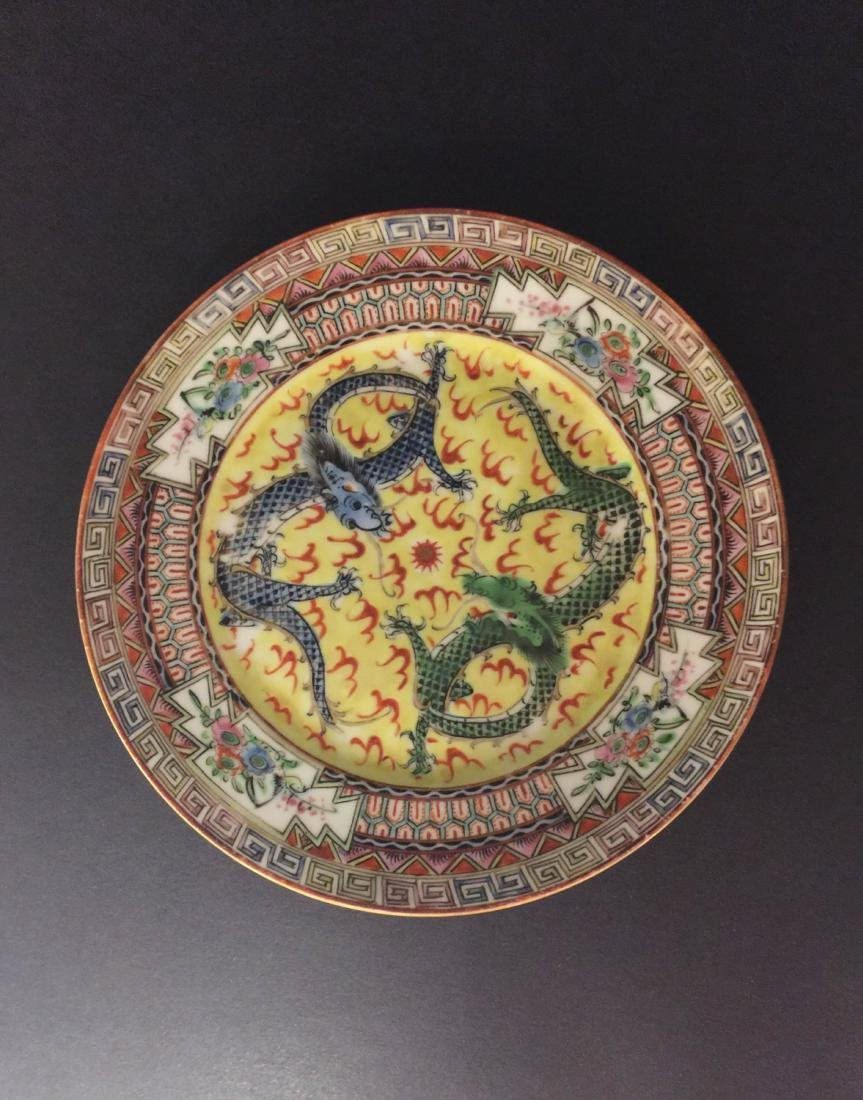 Late Qing Dynasty Famille Rose Porcelain Plate