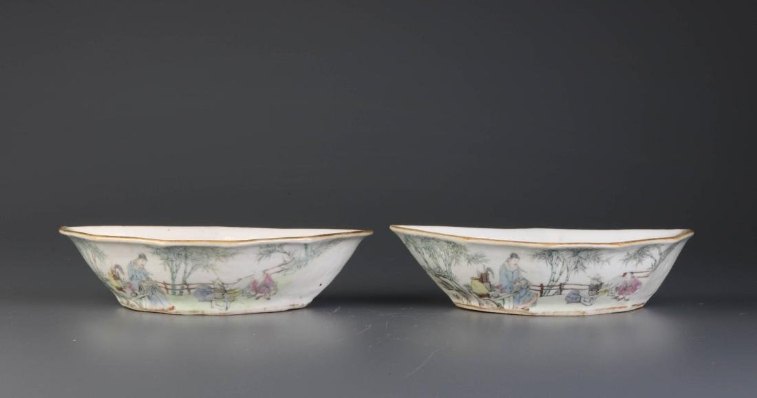 Pair of Chinese Porcelain Dishes, By Yu Ziming - 3