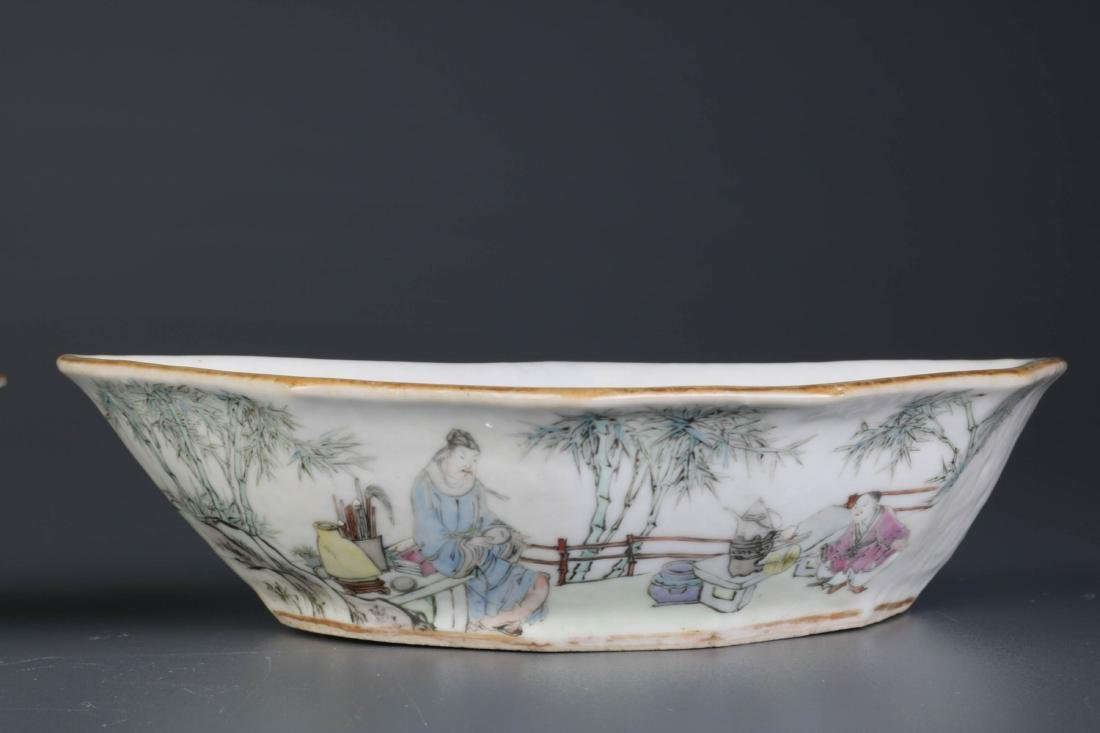 Pair of Chinese Porcelain Dishes, By Yu Ziming - 5